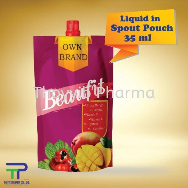 Liquid in Spout Pouch (35 ml-40 ml)  Liquid in Spout Pouch Liquid Malaysia, Negeri Sembilan (NS), Nilai OEM, Manufacturer | Thoyyib Pharma Sdn Bhd