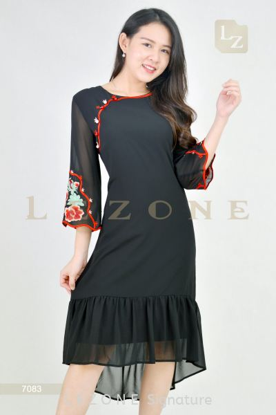 7083 Plus Size Embroidered Ruffle Dress  Plus Size Dresses D R E S S  Selangor, Kuala Lumpur (KL), Malaysia, Serdang, Puchong  | LE ZONE Signature