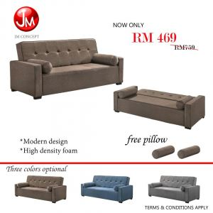 JM CONCEPT BARLEY SOFA BED WITH 2 PILLOW