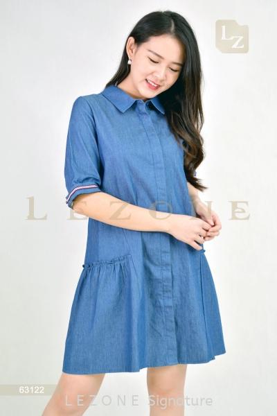63122 Denim A-Line Dress 有袖连身裙 新款连身裙    | LE ZONE Signature