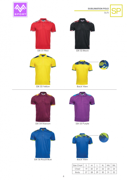 Sublimation Polo SP6 Sublimation Polo SP Collar Polo Tee Sublimation Shirt Johor Bahru (JB), Malaysia Supplier, Suppliers, Supply, Supplies | M Sport Apparel