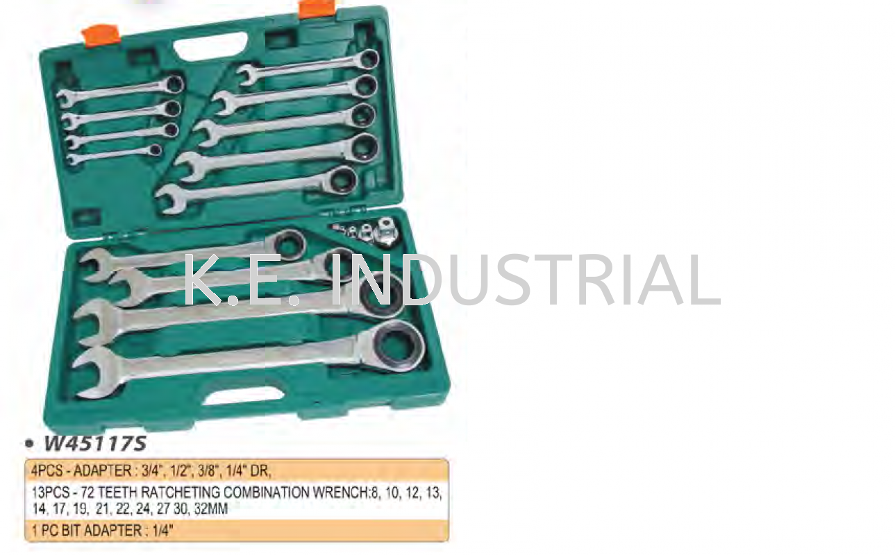 72TEETH RATCHETING COMBINATION WRENCH SET