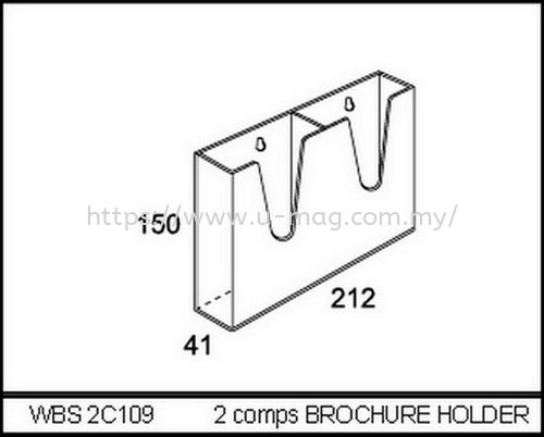 WBS2C109 2 COMPS BROCHURE HOLDER 资料架   Manufacturer, Supplier, Supply, Supplies | U-Mag Acrylic Products (M) Sdn Bhd