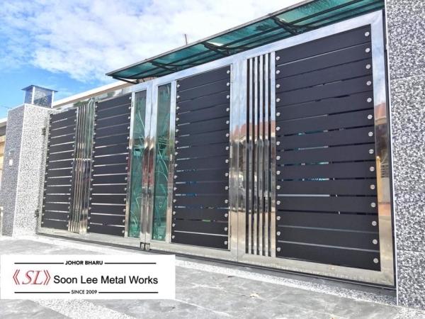 Stainless Steel Main Gate Stainless Steel Main Gate Johor Bahru (JB), Malaysia, Ulu Tiram Supplier, Suppliers, Supply, Supplies | Soon Lee Steel & Iron Works Sdn Bhd