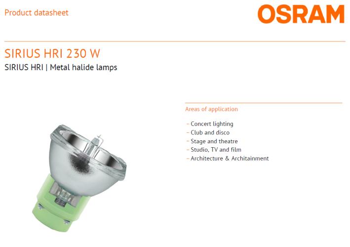 OSRAM SIRIUS HRI 230W METAL HALIDE LAMPS