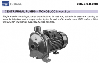 Ebara Monobloc In Cast Iron Pumps SMA-B-C-D-SMR