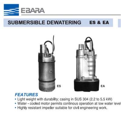 Ebara Submersible Dewatering Pumps Es & EA