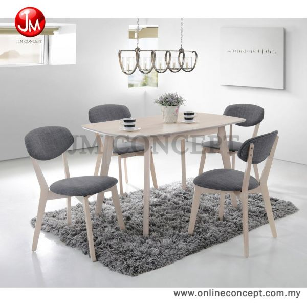 JM Concept Luminous UF2006 Dining Set (1+4) Solid Wood Series 餐桌 (全套) 饭厅与厨房   Furniture, Supplier, Supply, Supplies | Online Concept Store Sdn Bhd