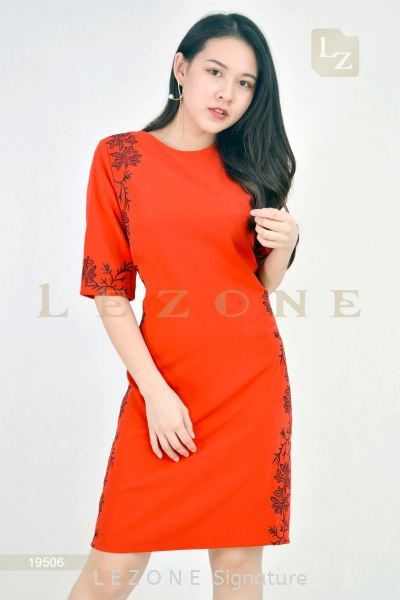 19506  Embroidered Sleeve Dress  Sleeved Dresses D R E S S  Selangor, Kuala Lumpur (KL), Malaysia, Serdang, Puchong  | LE ZONE Signature
