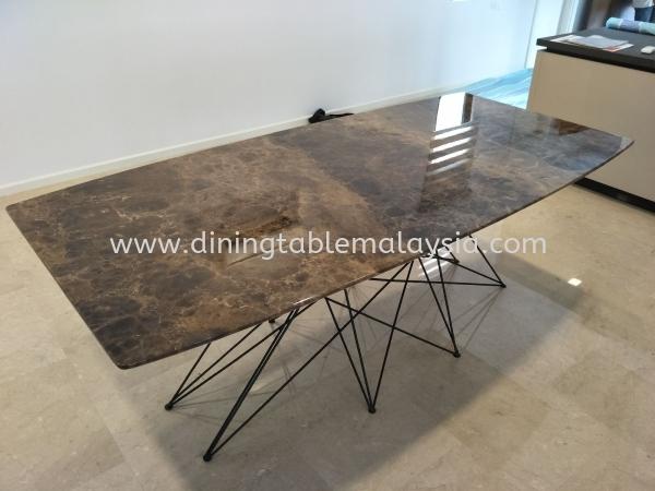 Marble Dining Table 8 Seater - Dark Emparador Marble  Marble Dining Table Malaysia, Selangor, Kuala Lumpur (KL), Petaling Jaya (PJ) Supplier, Suppliers, Supply, Supplies | DeCasa Marble Sdn Bhd
