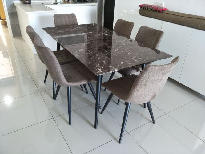 6 Seater Marble Dining Set Table