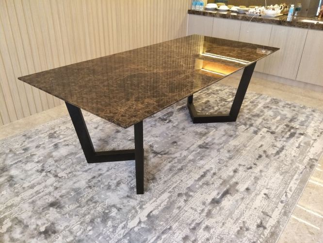 8 Seater Marble Dining Table - Dark Emparador Marble
