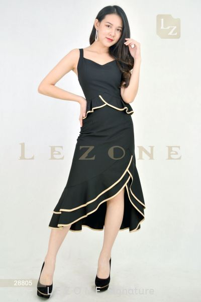 28805 Ruffle Midi Dress 无袖连身裙 新款连身裙    | LE ZONE Signature