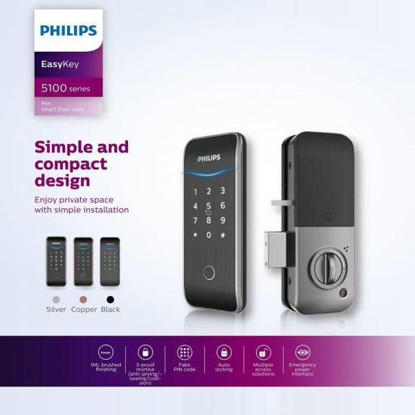PHILIPS EASYKEY 5100 DIGITAL LOCK Digital Door Lock Johor Bahru (JB), Malaysia, Masai, Pasir Gudang Supplier, Supply, Service | Famoso D Tech Enterprise