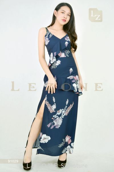 91029 MAXI SLIT  FLORAL DRESS【1st 10% 2nd 20% 3rd 30%】 晚礼服 新款连身裙   Supplier, Suppliers, Supply, Supplies | LE ZONE Signature