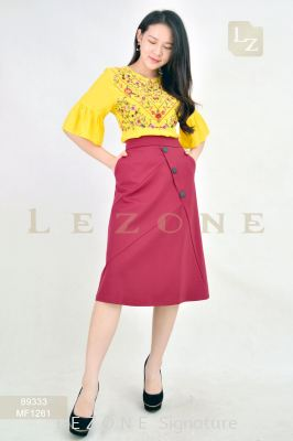 MF1261 LEANN BUTTON A-LINE SKIRT