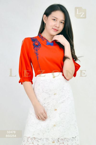 32478 PLUS SIZE EMBROIDERED CHEONGSAM BLOUSE  ¡¾2ND 50%¡¿ Plus Size Tops T O P Selangor, Kuala Lumpur (KL), Malaysia, Serdang, Puchong Supplier, Suppliers, Supply, Supplies | LE ZONE Signature