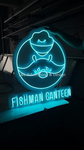 Fishman Canteen Neon Light Signage - light blue Neon Light Johor Bahru (JB), Malaysia, Skudai Supplier, Supply, Design, Install | T & L Advertising & Design