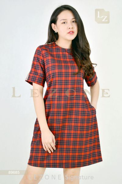 89685 PLAID SLEEVE DRESS¡¾2ND 50%¡¿ Sleeved Dresses D R E S S  Selangor, Kuala Lumpur (KL), Malaysia, Serdang, Puchong Supplier, Suppliers, Supply, Supplies | LE ZONE Signature