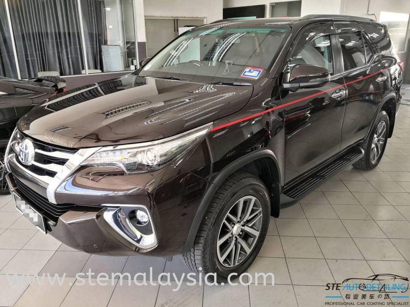 Toyota Fortuner SRZ has been coated. Provides a glossy and smooth surface to the paintwork yet protects from the unfriendly environmental contaminants. Toyota Completed Job STE Coating Penang, Malaysia, Bayan Lepas Car, Service | STE Auto Detailing Trading