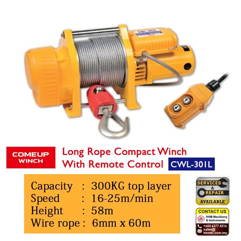 COMEUP Long Rope Compact Winch with Remove Control CWL-301L