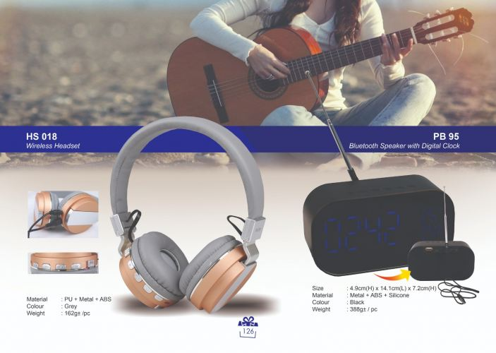 HS 018 Wireless Headset & PB 95 Bluetooth Speaker with Digital Clock