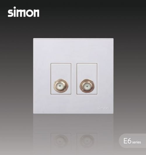 SIMON SWITCH 725119 2GANG TV OUTLET & BROADBAND F-CONNECTOR OUTLET
