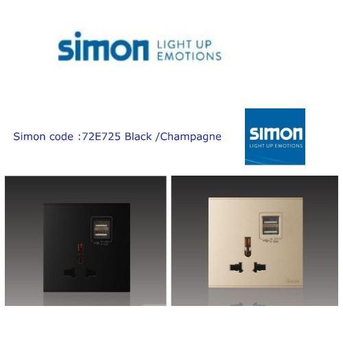 SIMON SWITCH 72E725 10A MULTIPLE /UNIVERSAL SOCKET OUTLET W DOUBLE USB (5V 2A) COLOUR BLACK