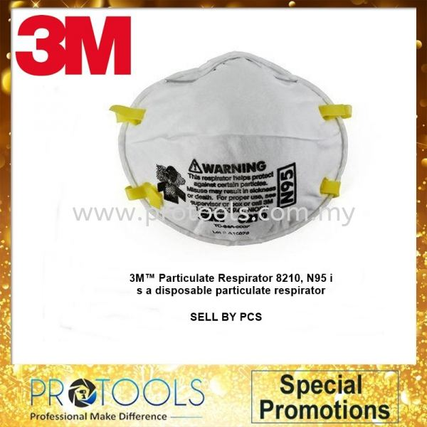 3M™ Particulate Respirator 8210, N95 (ONE PCS) Promotion Johor Bahru (JB), Malaysia, Skudai Supplier, Suppliers, Supply, Supplies | Protools Hardware Sdn Bhd