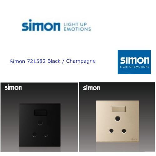 SIMON SWITCH 721582 15A ROUND PIN SWITCHED SOCKET OUTLET COLOUR BLACK