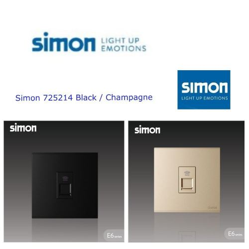 SIMON SWITCH 725214 1GANG TELEPHONE OUTLET (RJ11) BLACK