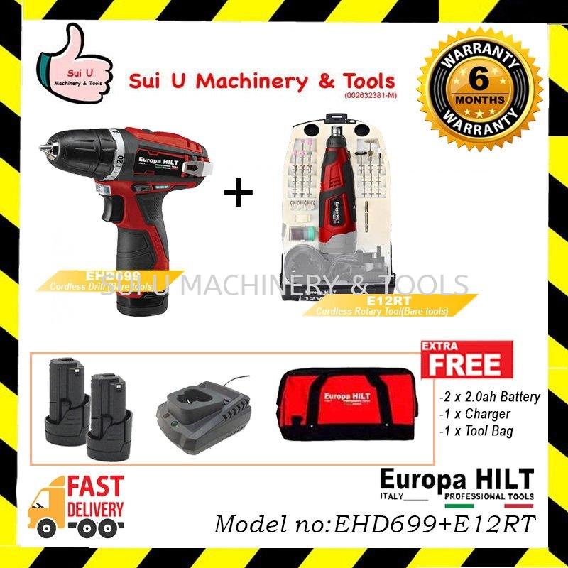 EUROPA HILT 12v Combo EHD699 Cordless Drill + E12RT Cordless Rotary tools FREE 2x 2.0ah Battry + Too