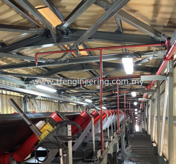 Belt Conveyer Fire Fighting Sprinklers System  Fire Sprinkler System Design and Build Fire Fighting System Johor Bahru (JB), Malaysia, Selangor, Kuala Lumpur (KL), Shah Alam Supplier, Supply, Supplies, Service | TF Engineering Services Sdn Bhd
