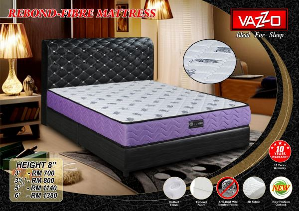 Rebond-Fibre Mattress 8'' Vazzo Mattress Bedroom Furniture Malaysia, Seremban, Negeri Sembilan Manufacturer, Supplier, Supply, Supplies   Vazzo Marketing Sdn Bhd