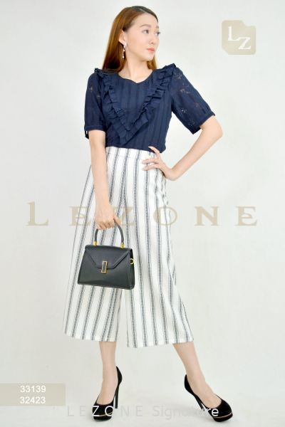 32423 PLUS SIZE STRIPED CULOTTES¡¾2ND 50%¡¿ Plus Size Pants / Skirt B O T T O M Selangor, Kuala Lumpur (KL), Malaysia, Serdang, Puchong, Cheras Supplier, Suppliers, Supply, Supplies | LE ZONE Signature