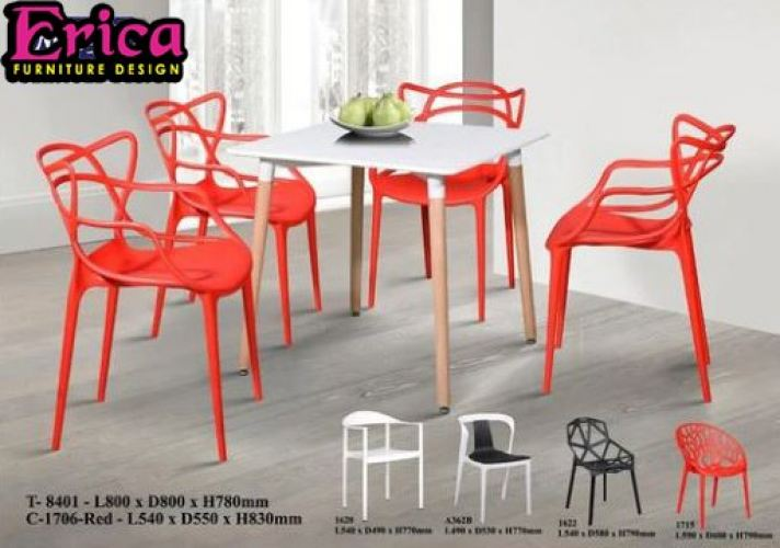ERICA Stylish F&B Dining Table Set - T-8401+C-1706-Red (1+4)