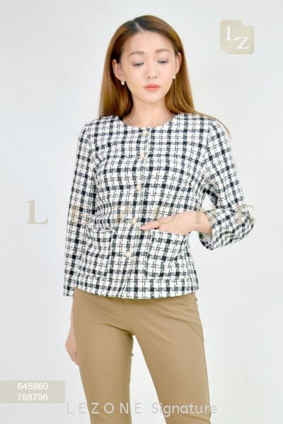 645860 LINEN PLAID JACKET 【2ND 50%】 正式外套 新款外套   Supplier, Suppliers, Supply, Supplies | LE ZONE Signature
