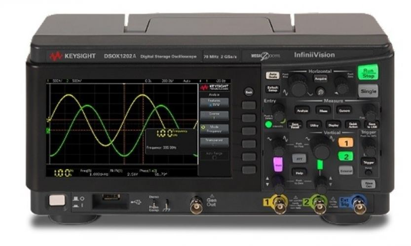DSOX1202G Oscilloscope: 70/100/200 MHz, 2 Analog Channels, with a built-in Waveform Generator