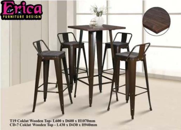 erica Metal Bar Table Set -T19+CD7 (1+4)-Coklat Wooden Top