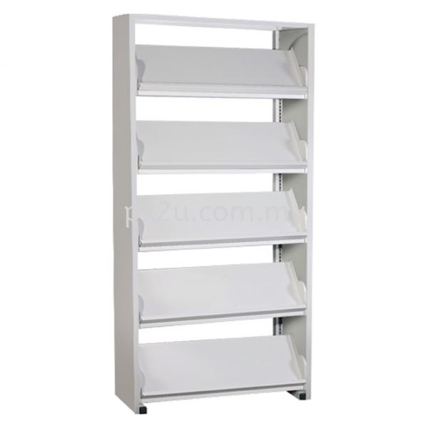SSLM-5L-SP - Single Sided Magazine Rack With Steel Panel (5 Shelves) Library Shelving & Equipment Education Furniture Johor Bahru, JB, Malaysia Manufacturer, Supplier, Supply   PK Furniture System Sdn Bhd