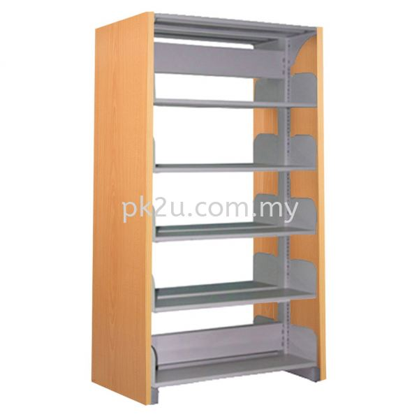 DSLS-5L-WP - Double Sided Library Shelving  With Wooden Panel (10 Shelves) Library Shelving & Equipment Education Furniture Johor Bahru, JB, Malaysia Manufacturer, Supplier, Supply | PK Furniture System Sdn Bhd