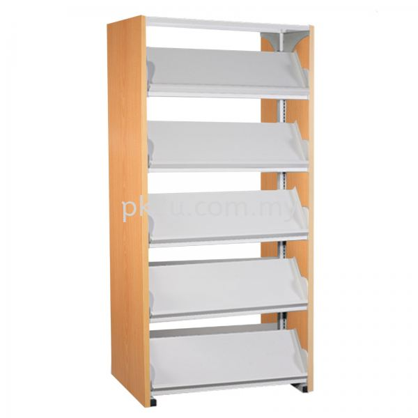 DSLM-5L-WP - Double Sided Magazine Rack With Wooden End Panel (10 Shelves) Library Shelving & Equipment Education Furniture Johor Bahru, JB, Malaysia Manufacturer, Supplier, Supply | PK Furniture System Sdn Bhd