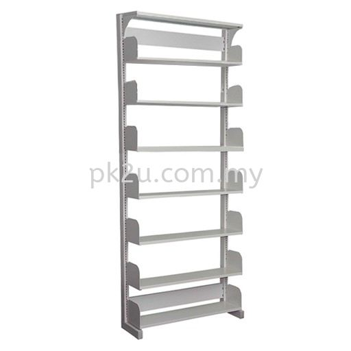 SSLS-7L-OP - Single Sided Library Shelving With Steel End Panel (7 Shelves) Library Shelving & Equipment Education Furniture Johor Bahru, JB, Malaysia Manufacturer, Supplier, Supply | PK Furniture System Sdn Bhd