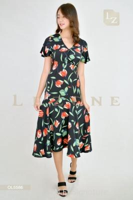 OL5586 LEANN FLORAL MADI DRESS ��BIG SALE 50%��