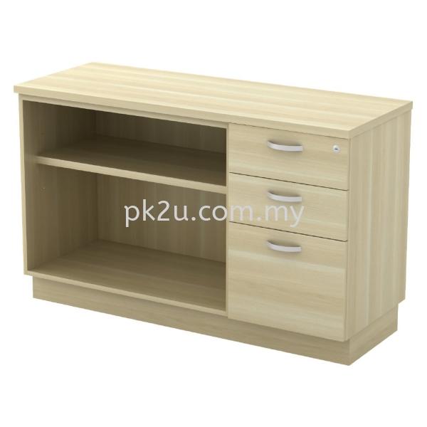 SC-YOP-7123 - Open Shelf + Fixed Pedestal 2D1F Combination Cabinet (750mm Height) Filing & Storage Johor Bahru, JB, Malaysia Manufacturer, Supplier, Supply | PK Furniture System Sdn Bhd