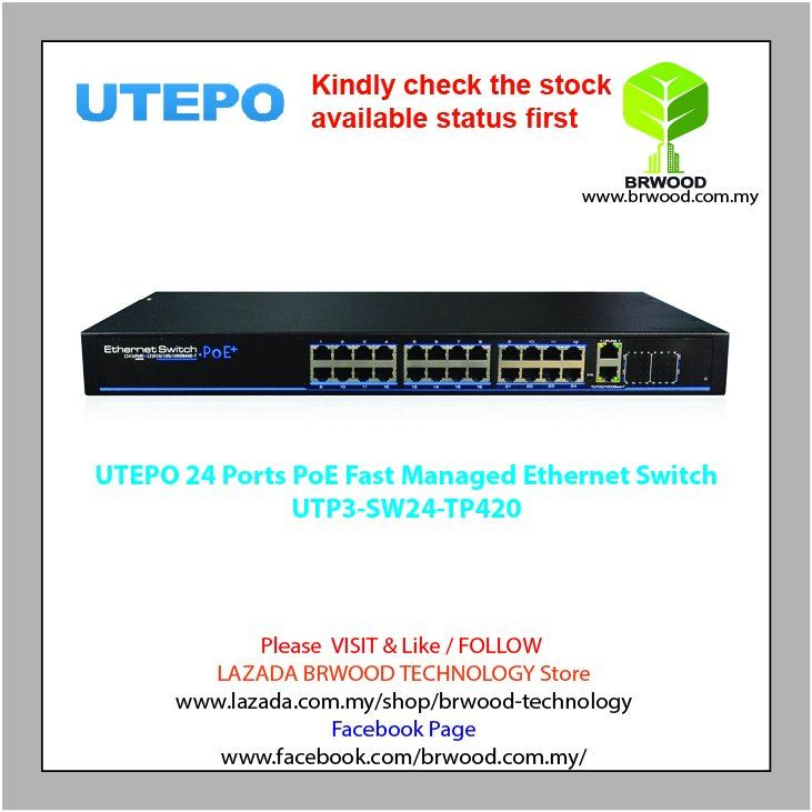 UTEPO UTP3-SW24-TP420: 24 Ports PoE Fast Managed Ethernet Switch