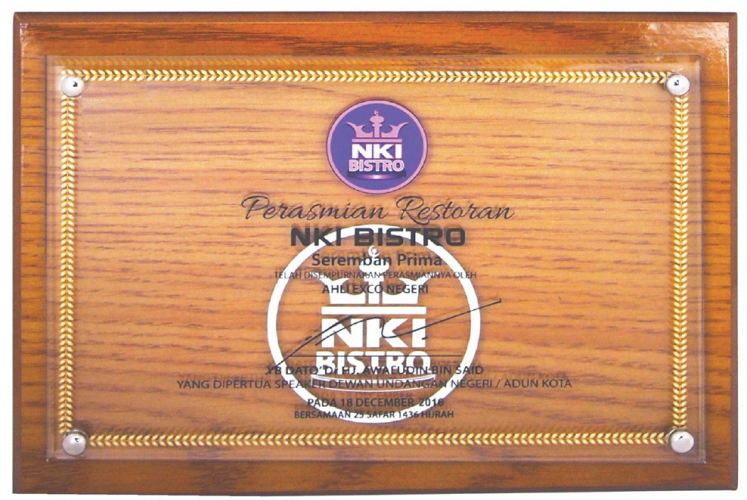 3066 Wooden crystal Opening Plaque