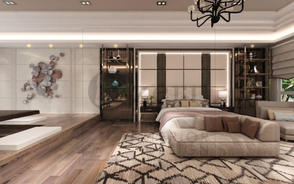 A spacious master bedroom with a luxury design. Modern Contemporary mixed with Modern industrial design for Dato Sri' Bungalow house in Kuala Lumpur. Shah Alam, Selangor, Kuala Lumpur (KL), Malaysia Service, Interior Design, Construction, Renovation   Lazern Sdn Bhd