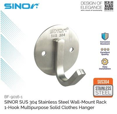 1-HOOK STAINLESS STEEL WALL MOUNTED HANGER (BF-9016-1)