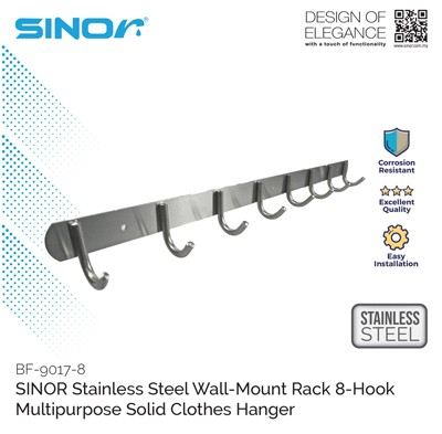 8-HOOK STAINLESS STEEL WALL MOUNTED HANGER (BF-9017-8)